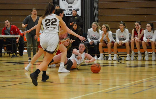 Clarkstown South forward Kelly O'Sullivan passes away from trouble in the closing minutes of a 58-54 loss to Tappan Zee on Jan. 7, 2020 at Clarkstown South High School.