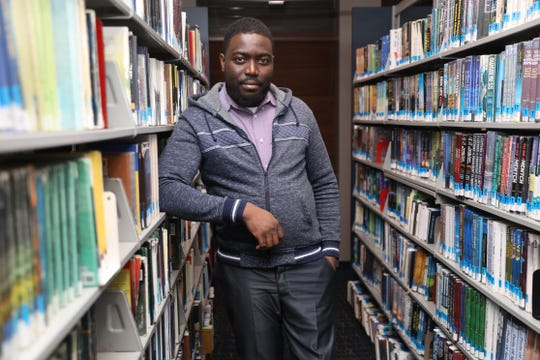 Jovins-Lin Dorestan talks about how his life changed after  surviving the 2010 earthquake in Haiti at Finkelstein Library in Spring Valley Jan. 7, 2020.