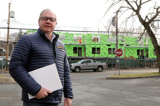 Developer Joe Tavolacci visits the construction site of a mixed-use retail and residential development in Chappaqua Jan. 8, 2020. The building will have 14 rentalÊapartments and ground floor retail space.