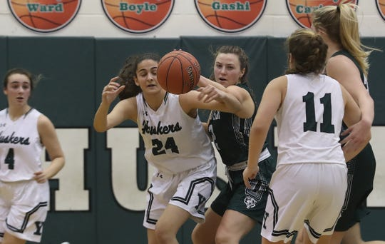 Yorktown center Ashley Zeolla averaged 16.7 points, 10.3 rebounds and 1.3 block for the Huskers, who picked up a pair of league wins last week.