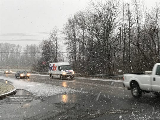 A sudden snow squall hits northern Delaware Wednesday morning.
