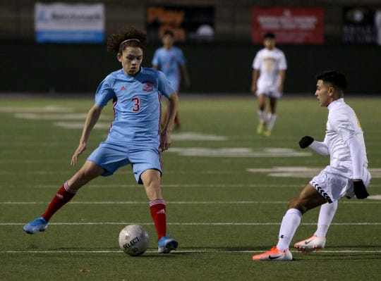 Hirschi's Zeliah Plew changes direction in the game against Synder Tuesday, Jan. 7, 2020, at Memorial Stadium. The Huskies won 4-1.