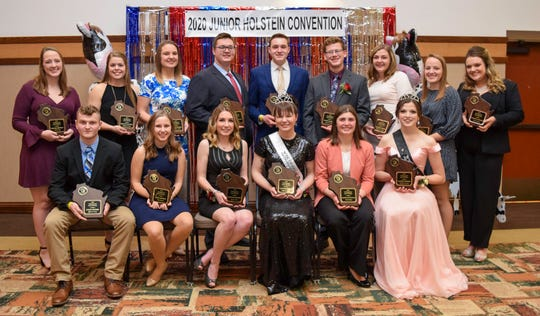 2019 Distinguished Junior Members were honored during the annual banquet at the Junior Holstein Convention. They include Jenna Broege and Nicole Broege, Rock County; McKenna Coffeen, Brown County; Eliza Endres, Dane County; Hannah Hockerman; Marquette County; Kalista and Kaianne Hodorff, Fond du Lac County; Mason Jauquet, Shawano County; Ben Kronberg, Rock County; Rachel McCullough, Green County; Hannah Nelson, Pierce County; Dawson Nickels, Dodge County; Lauren Siemers, Manitowoc County; Fritzy Ullom, Chippewa County; Colin Uecker, Jefferson County and Hannah Ullom, Chippewa County.