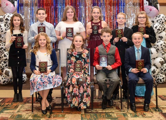 Twelve & Under Member Recognition was awarded to Justin Brandel, Jefferson County; Katie Brandel, Jefferson County; Christina Buttles, Grant County; Logan Harbaugh, Shawano County; Vivian Lichty, Dodge County; Abby Meyer, Calumet County; Ella Raatz, Clark County; Cameron Ryan, Fond du Lac County; Dylan Ryan, Fond du Lac County; and Payton Sarbacker, Dane County.