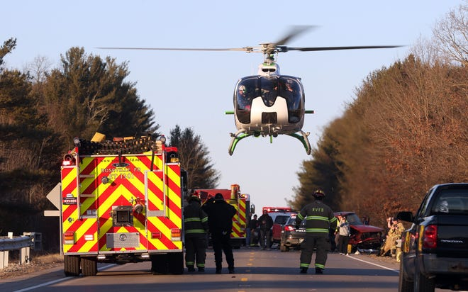 A MedFlight helicopter lifts off from the scene of a three-vehicle wreck on Ohio 93 near Roseville Wednesday afternoon. According to the Ohio State Patrol, two people were taken to the hospital after the wreck, including one to Columbus via helicopter.