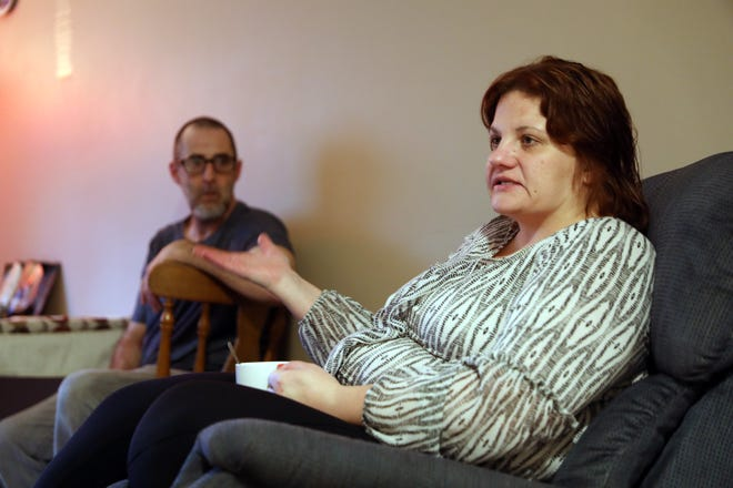 Jill Sharrer talks about escaping a life of prostitution. She now lives with her husband, Aaron, in an apartment in Zanesville.