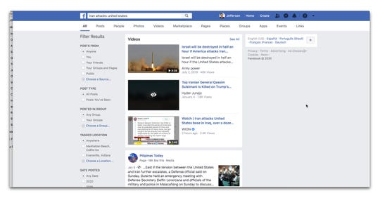 Videos served up by Facebook Tuesday night were not from trusted sources