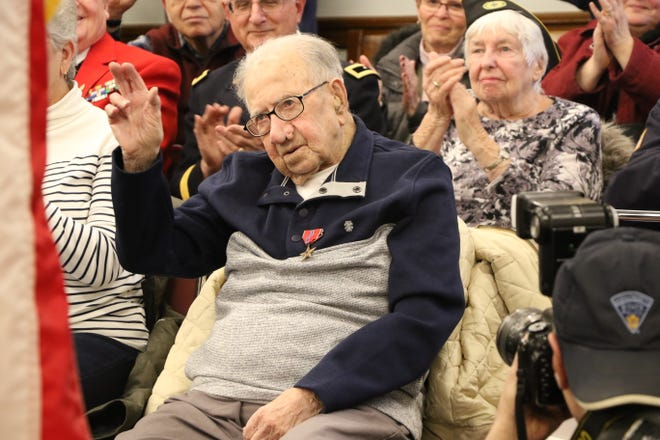 Peter Fantasia, of Somersville, Mass, received eight medals of honor, including a Bronze Star and a World War II Victory Medal, in a ceremony Monday