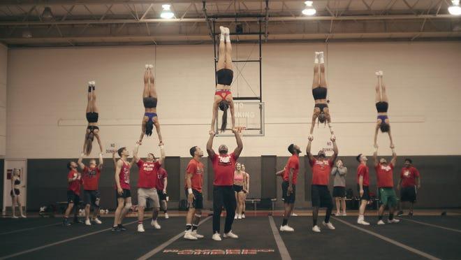 """The Navarro College cheer team practices in Netflix's """"Cheer."""""""
