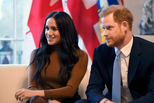 Prince Harry and Duchess Meghan of Sussex during their visit to Canada House, in London, on Jan. 7, 2020.