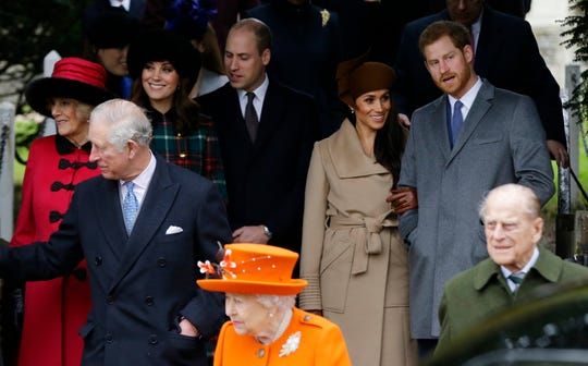 The royal family gathered at church at Christmas 2017, including Prince Charles, Queen Elizabeth II and Prince Philip, Camilla Duchess of Cornwall, Duchess Kate of Cambridge, Prince William, Meghan Markle, and her fiance Prince Harry,