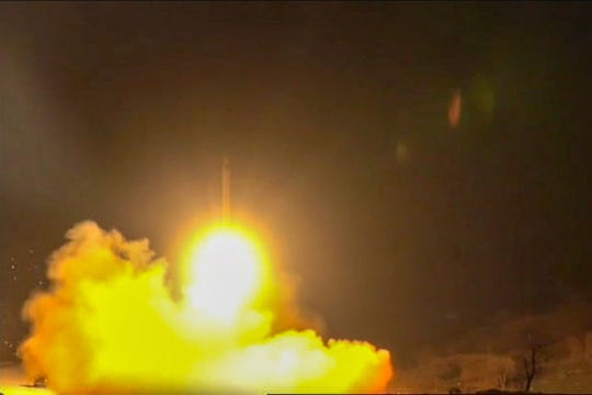 The state-run Iran Press news agency showed footage Jan. 8 of what it said were rockets launched from the Islamic republic against the military base al Assad in Iraq.