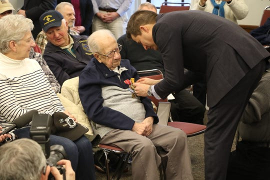 Peter Fantasia, of Somersville, received eight medals of honor, including a Bronze Star and a World War II Victory Medal, in a ceremony Monday. Former Democratic presidential candidate Rep. Seth Moulton (D-Mass.) presented him with his long-deserved awards.