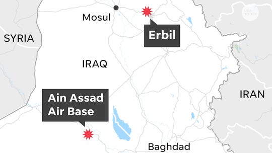 Pentagon says Iran responsible for firing multiple missiles that hit Iraqi airbases housing U.S. forces