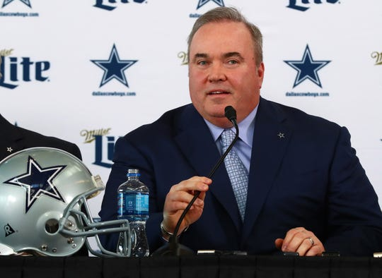 New Dallas Cowboys head coach Mike McCarthy answers questions during a news conference at Ford Center at the Star.
