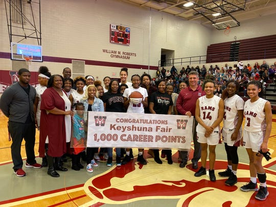 Westside senior Keyshuna Fair scored her 1,000th career point on December 10, 2019.