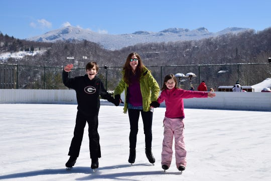 Ice skating on the 10,000-square-foot rink at Sugar Mountain Ski Resort is open through March.