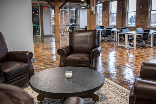 The inside of Collab BC is pictured on Thursday, Jan. 9, 2020 in Battle Creek, Mich. Collab BC leases offices and workspaces for startups, freelancers etc.