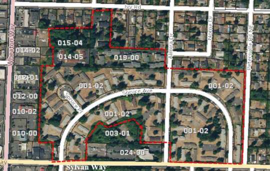 The Bremerton City Council voted last month to increase the density in several residential areas, including this outlined area off Sylvan Way.