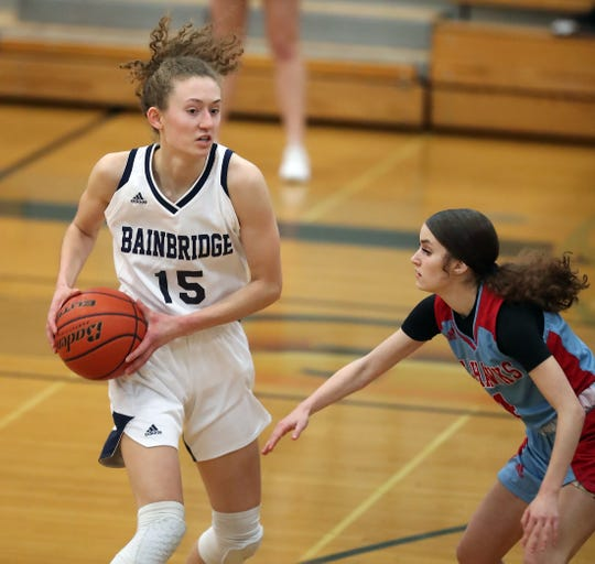 Bainbridge's Olivia Wikstrom is the Kitsap Sun girls basketball player of the year for 2020. She averaged a school-record 26 points per game for the Spartans.