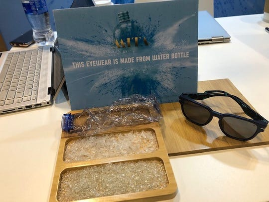 Just five crushed water bottles make up a pair of fashionable sunglasses, part of a sustainability movement in the surf industry. This company is called MITA, a melding of Miami and Italian fashion statements.