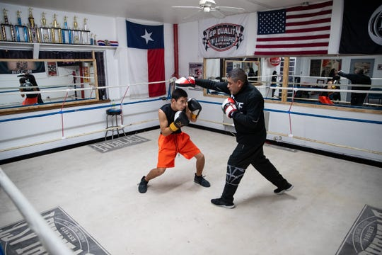 Andy (Gureo) Luis spares as he trains at Duke it Out Boxing on Wednesday, Jan 9, 2019.