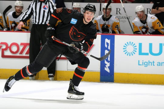 Isaac Ratcliffe, a second-round pick of the Flyers in 2017, is learning to use his big frame to his advantage now that he's not in junior hockey anymore.