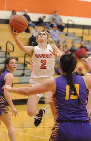 Waverly's Carli Knight goes up for a layup during a 59-58 loss to McClain on Wednesday Jan. 8, 2020 at Waverly High School in Waverly, Ohio.