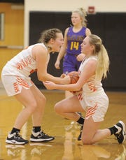 Waverly's Zoiee Smith celebrates with Paige Carter during the second half of a 59-58 loss to McClain on Wednesday Jan. 8, 2020 at Waverly High School in Waverly, Ohio.