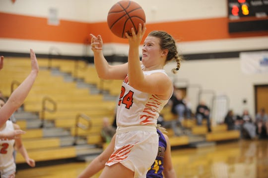 Waverly's Zoiee Smith goes up for a shot during a game against McClain on Wednesday Jan. 8, 2020 at Waverly High School in Waverly, Ohio.