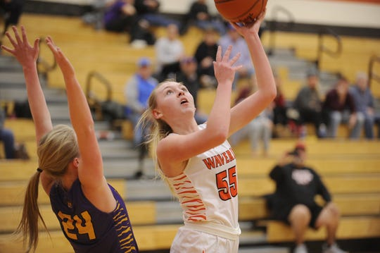Waverly's Paige Carter goes up for a shot in the post during a 59-58 loss to McCain on Wednesday Jan. 8, 2020 at Waverly High School in Waverly, Ohio.
