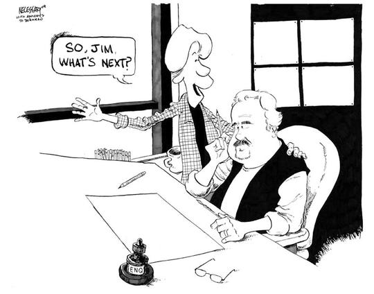 Farewell cartoon for Jim Borgman