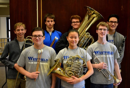 More than 900 students auditioned to perform with the Central Jersey Music Educators Association (CJMEA) Region II band and orchestra. Westfield High School student musicians selected to perform this month in the Region II band and orchestra are (Left to right, front) Ian Gurland, Aprina Wang and Max Tennant. (Left to right, back) Conor Daly, David Criscuolo, Patrick Gallagher and Alexander Cha.