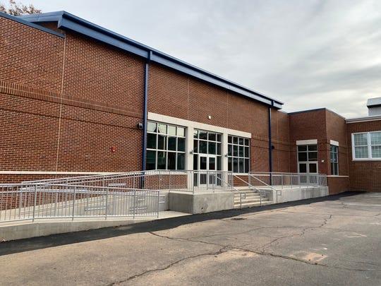 Exterior of the new cafetorium at Dewitt D. Barlow Elementary School.