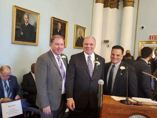 (Left to right)Sen.Joseph Cryan, Senate President Steve Sweeney, and Sen.Nicholas Scutari.
