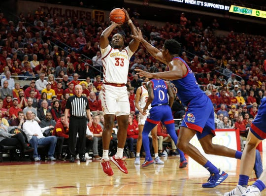 Iowa State junior Solomon Young fires a shot in the second half against Kansas on Wednesday, Jan. 8, 2020, at Hilton Coliseum in Ames.