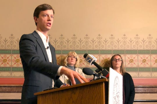 Iowa Auditor Rob Sand explains results of an audit his agency conducted of the Iowa Medicaid Home Health Services program during a news conference at the Iowa Capitol, Thursday, Jan. 9, 2020. Standing behind him are Deputy Auditor Annette Campbell, left, and Senior Auditor Melissa Finestead. Sand criticized the Iowa Department of Human Services for providing data he claimed was so flawed he couldn't test it.