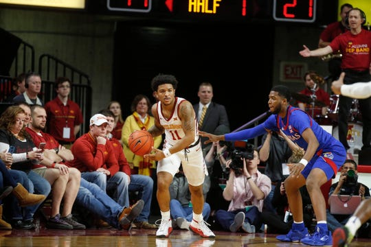 Iowa State senior Prentiss Nixon is guarded by Kansas' Isaiah Moss  on Wednesday, Jan. 8, 2020, at Hilton Coliseum in Ames.