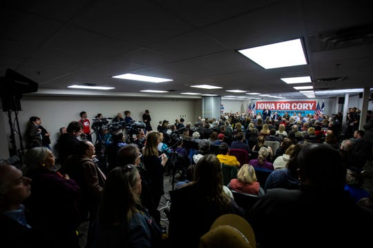 """U.S. Sen. Cory Booker, D-N.J., speaks during a """"Conversation with Cory"""" campaign event, Thursday, Jan. 9, 2020, at the Community Center in North Liberty, Iowa."""
