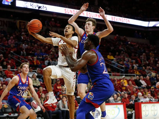 Iowa State sophomore Rasir Bolton drives in for a basket against Kansas on Wednesday, Jan. 8, 2020, at Hilton Coliseum in Ames.