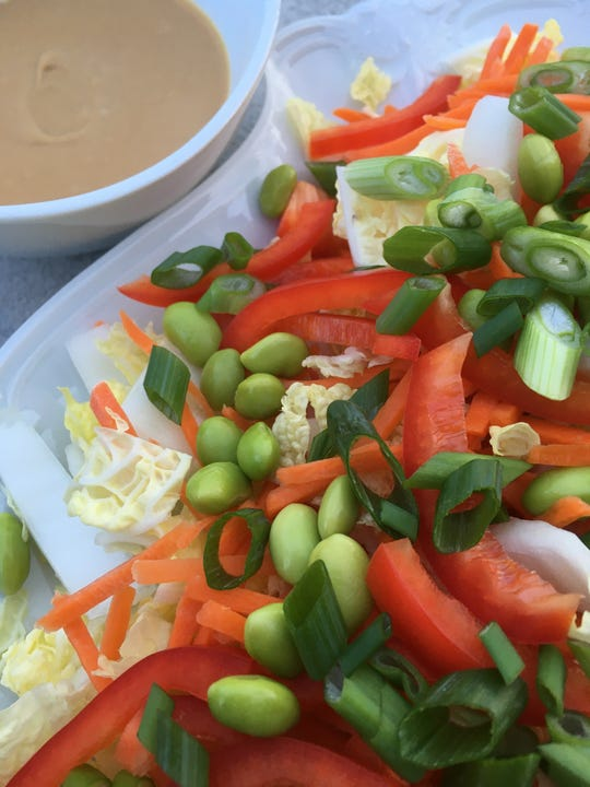 Napa Cabbage Salad with Peanut Butter Dressing