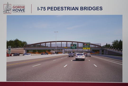 An illustration of five pedestrian bridges over I-75 is displayed during a news conference about the status of the Gordie Howe International Bridge on Thursday, January 09, 2020, in southwest Detroit.