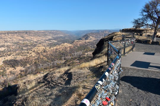 The view from Elizabeth Watling's backyard overlooking Butte Creek Canyon, which was burned in a 2018 wildfire that destroyed Paradise, Calif. Watling is participating in a study of the health impacts of inhaling smoke from the fire that killed 85 people and destroyed more than 14,000 homes.