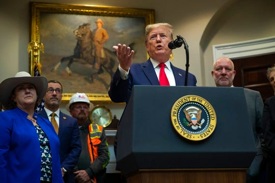 President Donald Trump delivers remarks on proposed changes to the National Environmental Policy Act, at the White House, Thursday, Jan. 9, 2020, in Washington.