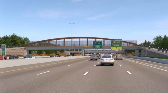 A rendering of what the new pedestrian bridges over Interstate 75 will look like.
