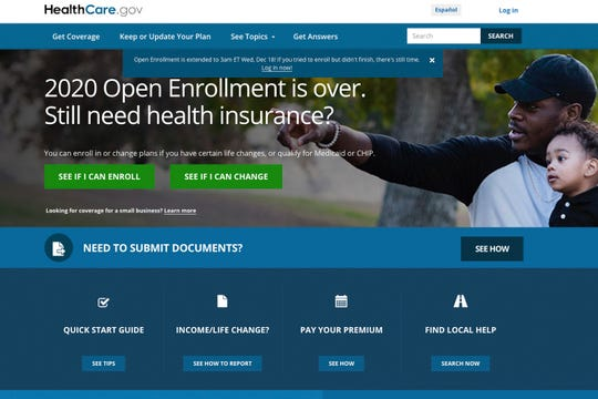 This screen grab from the website HealthCare.gov shows the extended deadline for signing up for health care coverage for 2020.
