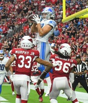 Lions tight end T.J. Hockenson had a huge debut against the Arizona Cardinals, which included this touchdown catch, but the rest of his rookie season in Detroit was relatively quiet.