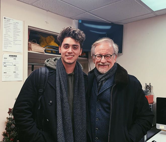 From left, actor Antonio Cipriano and filmmaker Steven Spielberg.