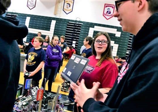 Elmira High School junior Jasmine Scott takes part in the Elmira Express VEX Turning Point on Feb. 2, 2019 at the high school.