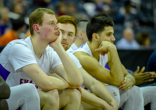 Bench blues as the Aces watch the final minutes run down to a 72-52 loss to Bradley as the University of Evansville Aces play the Bradley University Braves at the Ford Center Wednesday evening, January 8, 2020.